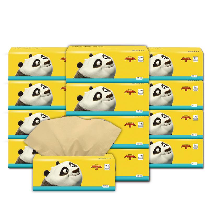 斑布BABO熊猫家用大号L号抽纸卫生餐面纸巾实惠装160抽18包/整箱
