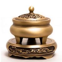 香炉纯铜家用室内沉香熏香炉檀香安神盘香茶道摆件用品三足香薰炉