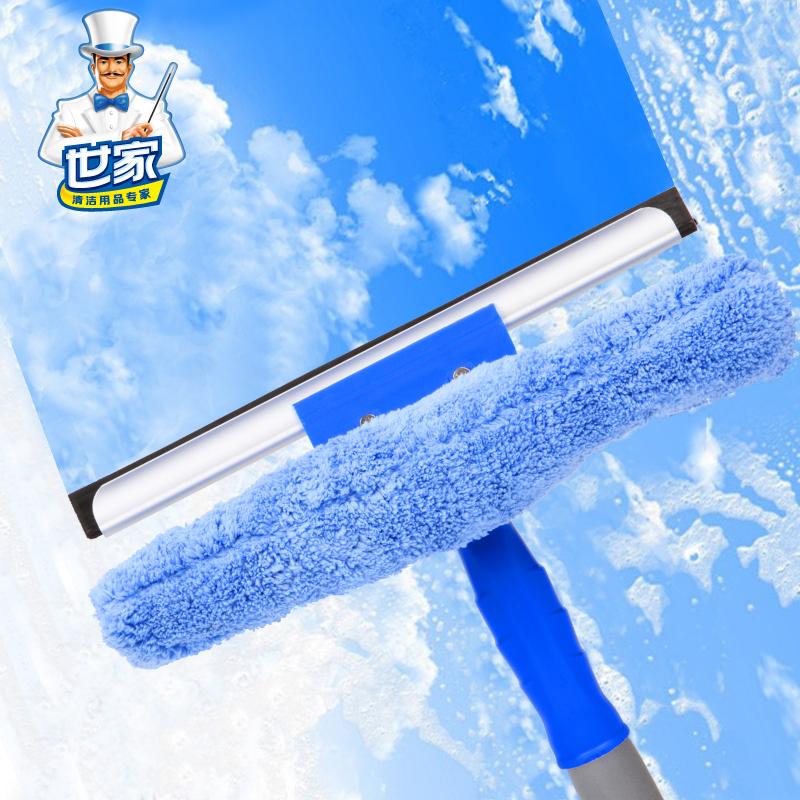 世家双叉玻璃清洁器 擦窗器刮水器刮窗器工具擦窗户清洁带伸缩杆